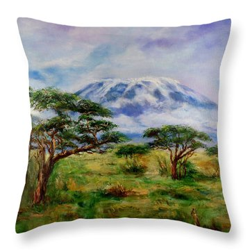 Throw Pillow featuring the painting Mount Kilimanjaro Tanzania by Sher Nasser