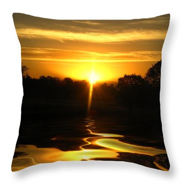 Mount Lassen Sunrise Gold Throw Pillow
