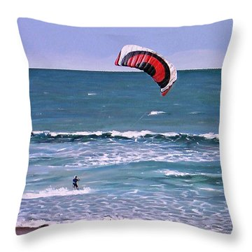 Throw Pillow featuring the painting Mount Maunganui 160308 by Sylvia Kula