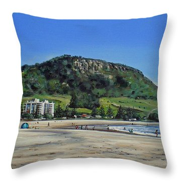 Throw Pillow featuring the painting Mount Maunganui Beach 151209 by Sylvia Kula