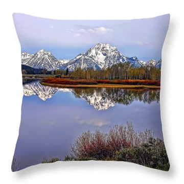 Mount Moran And Jackson Lake Throw Pillow by Gary Holmes