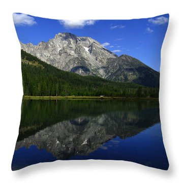 Throw Pillow featuring the photograph Mount Moran And String Lake by Raymond Salani III
