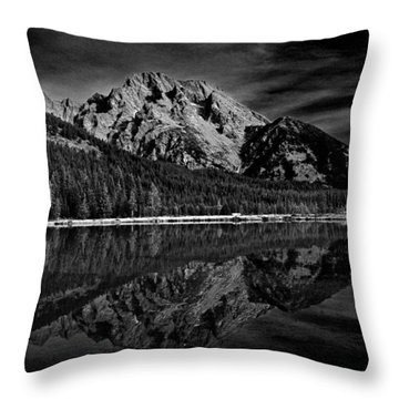 Mount Moran In Black And White Throw Pillow by Raymond Salani III