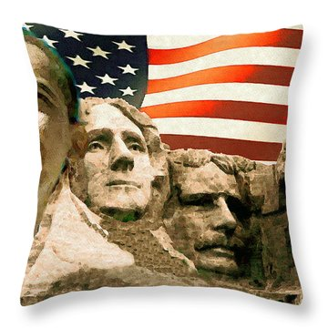 Barack Obama On Mount Rushmore - American Art Poster Throw Pillow