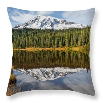 Mount Rainier And Reflection Lakes In The Fall Throw Pillow by Jeff Goulden