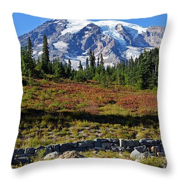 Mount Rainier Throw Pillow by Anthony Baatz