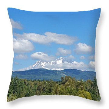 Mount Rainier As Viewed From The West Throw Pillow by Connie Fox
