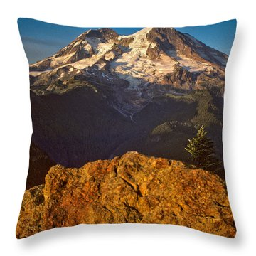 Throw Pillow featuring the photograph Mount Rainier At Sunset With Big Boulders In Foreground by Jeff Goulden