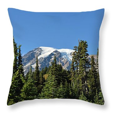 Mount Rainier Evergreens Throw Pillow by Anthony Baatz