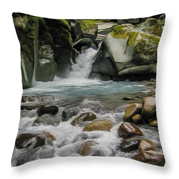 Mount Rainier Falls Throw Pillow