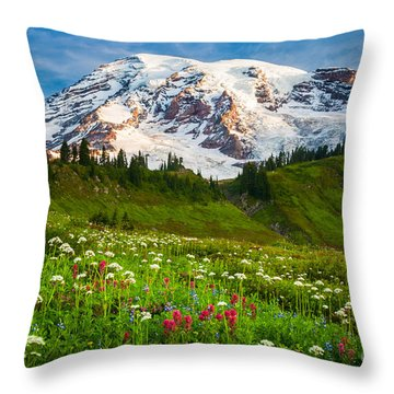 Mount Rainier Flower Meadow Throw Pillow by Inge Johnsson