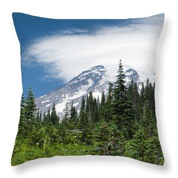Mount Rainier Forest Throw Pillow