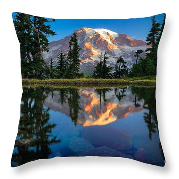 Mount Rainier From Tatoosh Range Throw Pillow by Inge Johnsson