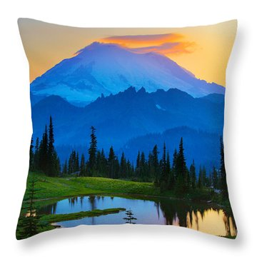 Mount Rainier Goodnight Throw Pillow by Inge Johnsson