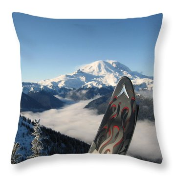 Mount Rainier Has Skis Throw Pillow