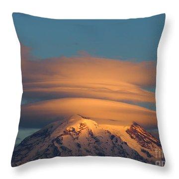 Mount Rainier In November  Throw Pillow
