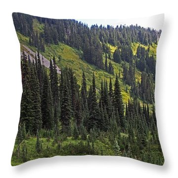 Throw Pillow featuring the photograph Mount Rainier Ridges And Fir Trees.. by Tom Janca