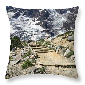 Mount Rainier Trail Throw Pillow
