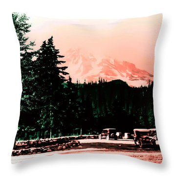 Mount Rainier With Vintage Cars Early 1900 Era... Throw Pillow by Eddie Eastwood