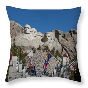 Mount Rushmore Avenue Of Flags Throw Pillow