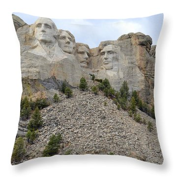 Mount Rushmore In South Dakota Throw Pillow by Clarice  Lakota