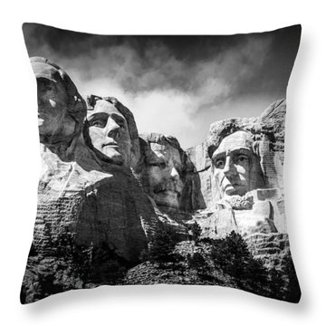 Mount Rushmore National Memorial In Black And White Throw Pillow