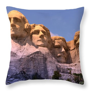 Mount Rushmore Throw Pillow by Olivier Le Queinec