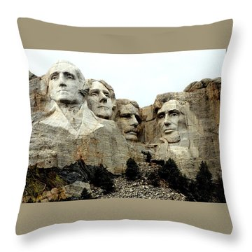 Mount Rushmore Presidents Throw Pillow by Clarice  Lakota