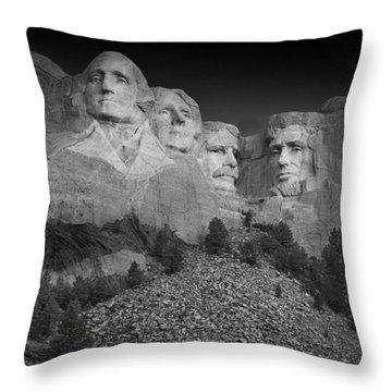Mount Rushmore South Dakota Dawn  B W Throw Pillow by Steve Gadomski