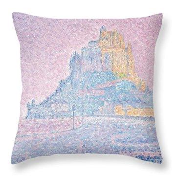 Mount Saint Michel Fog And Sun Throw Pillow by Paul Signac