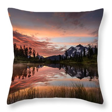 Mount Shuksan Fiery Sunrise Throw Pillow by Dan Mihai