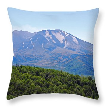 Mount St. Helens And Castle Lake In August Throw Pillow by Connie Fox