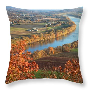 Mount Sugarloaf Connecticut River Autumn Throw Pillow by John Burk