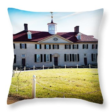 Mount Vernon Home Of President George Washington Throw Pillow by MaryJane Armstrong