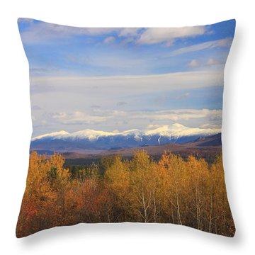 Mount Washington And Presidential Range Snow Foliage Throw Pillow