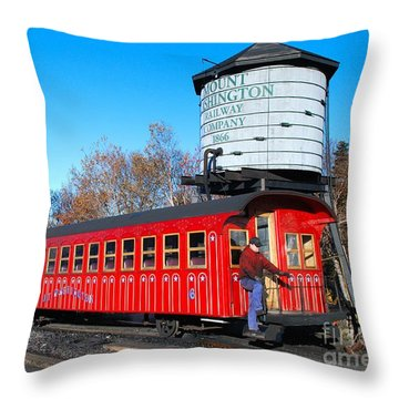 Mount Washington Cog Railway Car 6 Throw Pillow