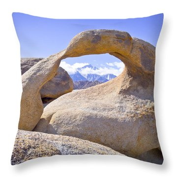 Mount Whitney Framed By The Mobius Arch Throw Pillow by Priya Ghose