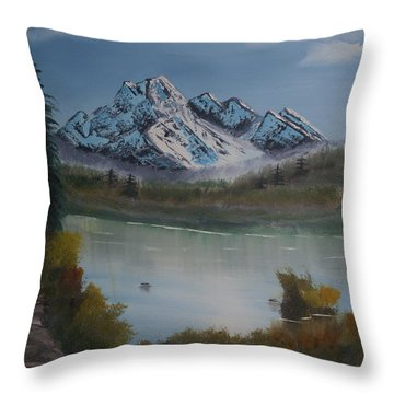Throw Pillow featuring the painting Mountain And River by Ian Donley