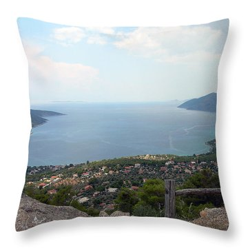Mountain And Sea View In Greece Throw Pillow