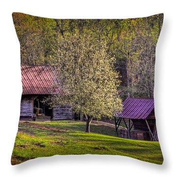 Mountain Barns In North Carolina Throw Pillow by Debra and Dave Vanderlaan
