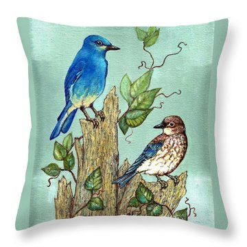 Throw Pillow featuring the painting Mountain Bluebirds by VLee Watson