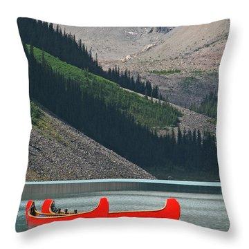 Mountain Canoes Throw Pillow