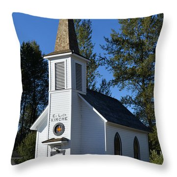 Mountain Chapel Throw Pillow by Anthony Baatz