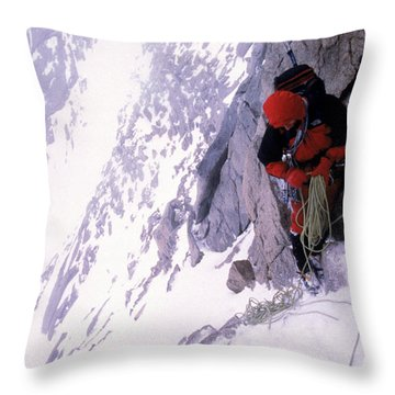 Mountain Climber Repels Down Snowy Throw Pillow