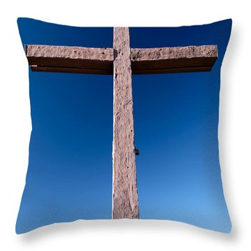 Mountain Cross Throw Pillow