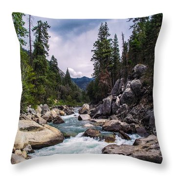 Mountain Emerald River Photography Print Throw Pillow by Jerry Cowart