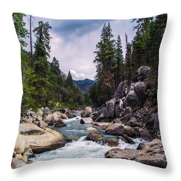 Mountain Emerald River Photography Print Throw Pillow