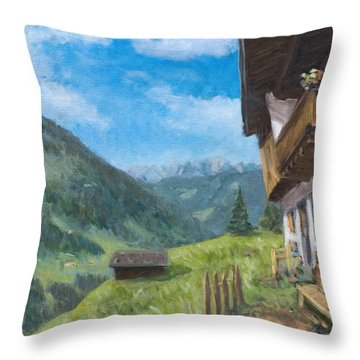 Mountain Farm In Austria Throw Pillow by Marco Busoni