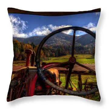 Mountain Farm View Throw Pillow