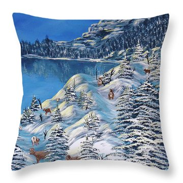 Mountain Goats Of Grand Forks Throw Pillow by Barbara St Jean